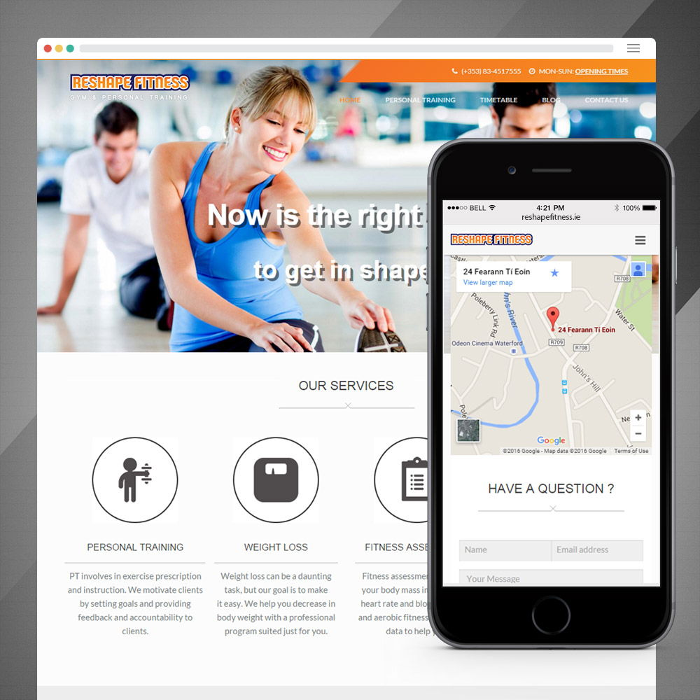 Reshape Fitness Landing Page